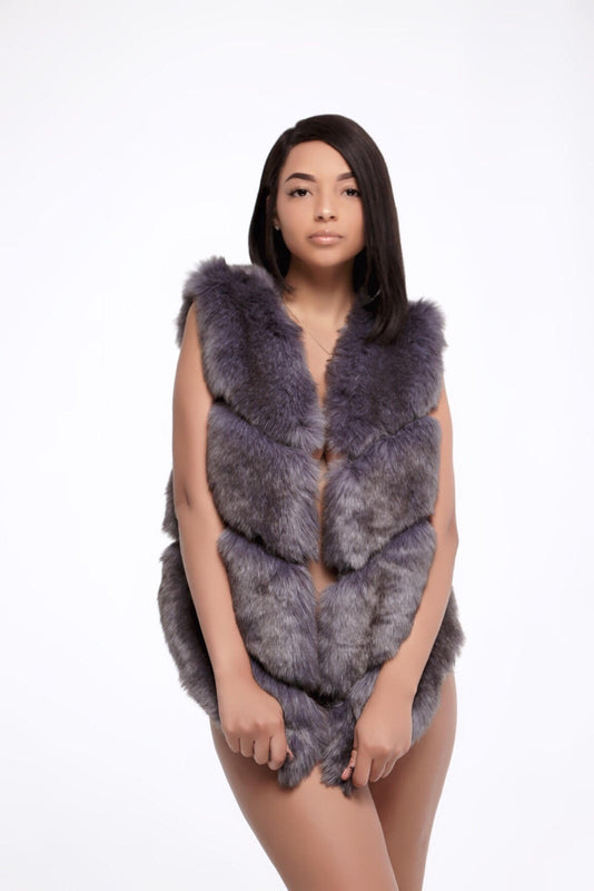 Nicolo Fur Vest in Cement