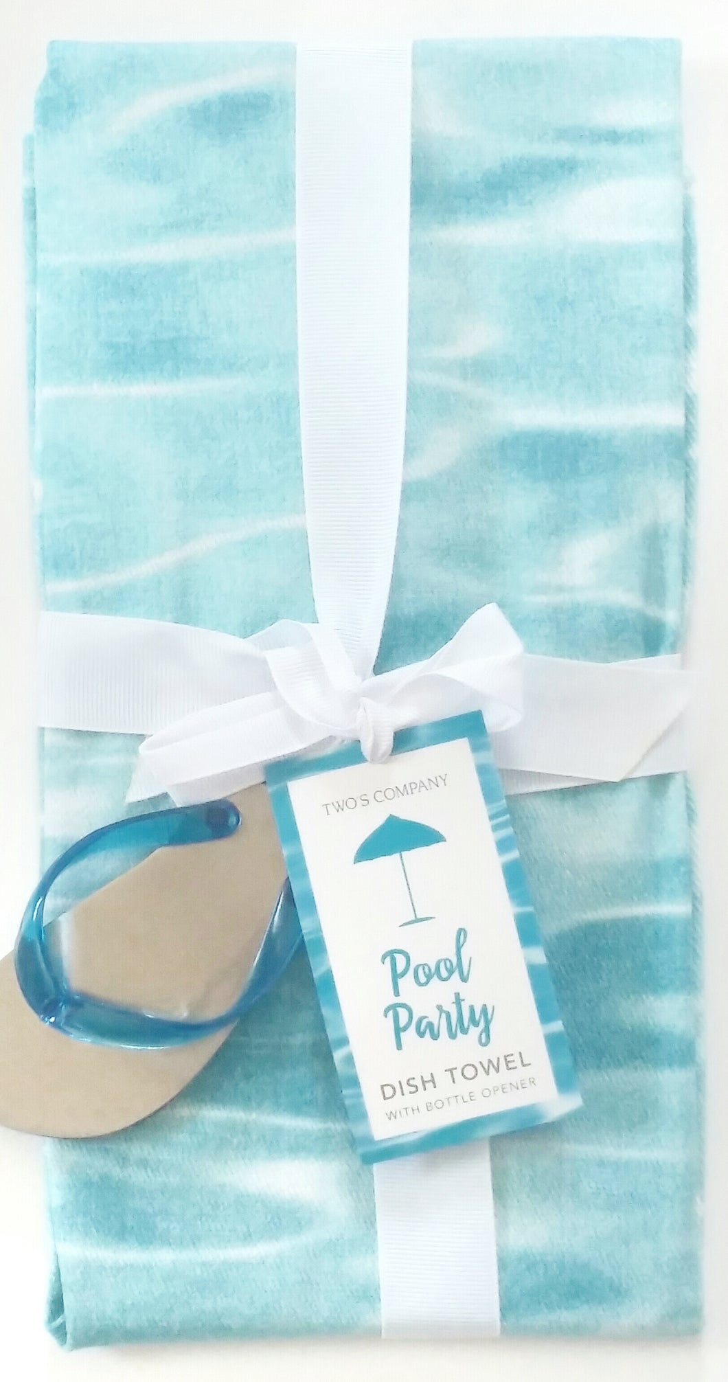 Two's Company Pool Party Dish Towel w/Bottle Opener