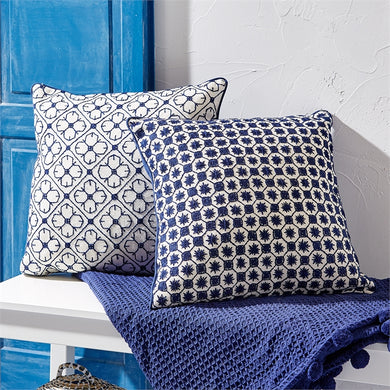 Two's Company Navy Blue Square Embroidered Pillow