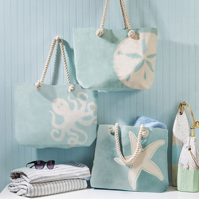 Two's Company Watercolors Sea-Themed Tote Bag