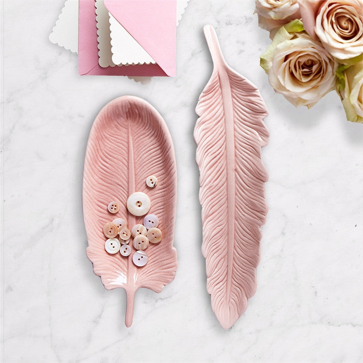 Two's Company Pink Feather Trinket Tray