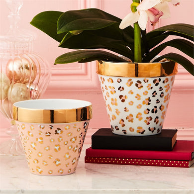 Two's Company Leopard Print Planters