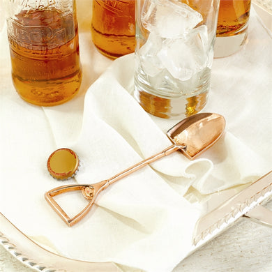 Rose Gold Shovel Bottle Opener in Gift Pouch