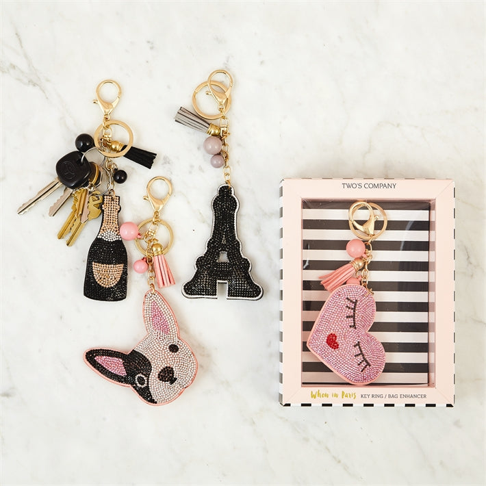 Two's Company When In Paris Bejeweled Key Ring/Bag Enhancer