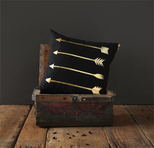 Creative Co-Op Black Pillow w/Gold Metallic Arrow