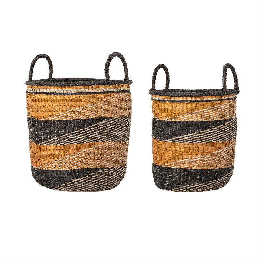 Hand Woven Basket w/Handles