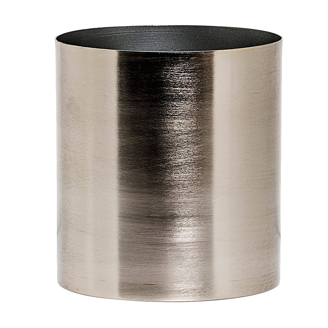 Bloomingville Metal Flower Pot, Brushed Silver
