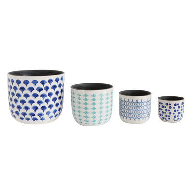 Hand Painted Stoneware Planters, 4 pc. Set (DS)