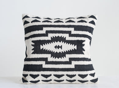 Black & Cream Square Kilim Cotton Pillow (DS)