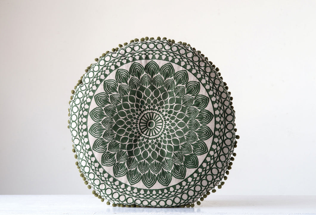 Green Round Chambray Pillow (DS)