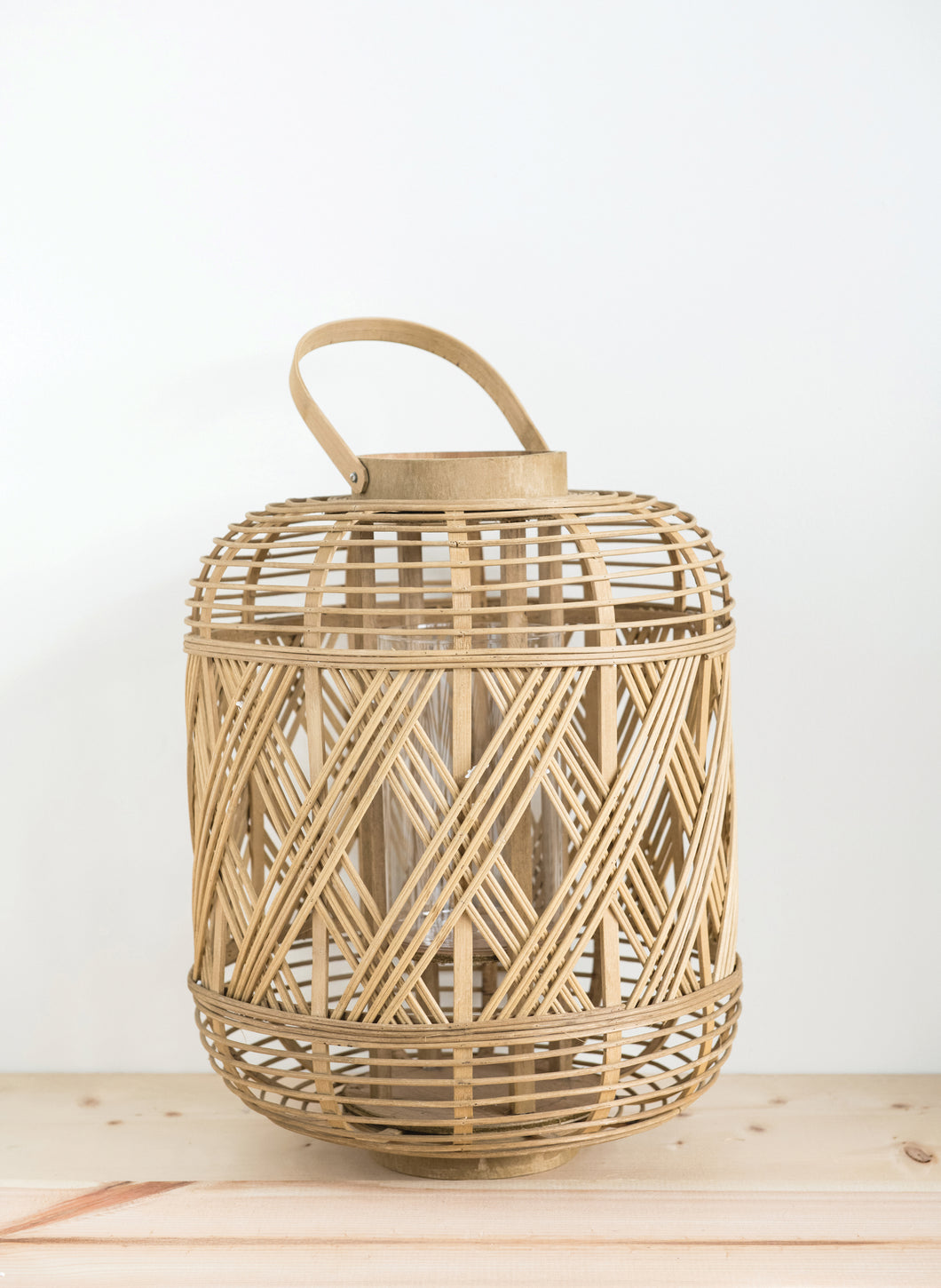 Handwoven Bamboo Lantern W/ Handle & Glass Insert  (DS)