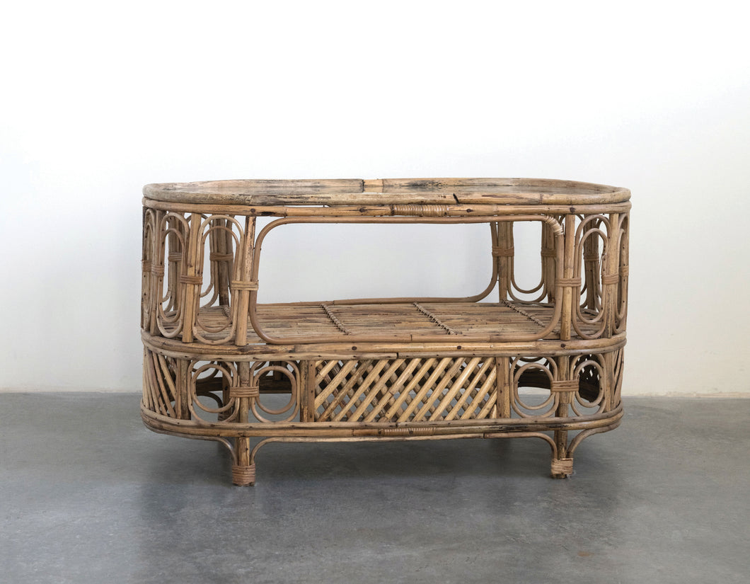 Oval Bamboo & Glass Table w/ Shelf (DS)