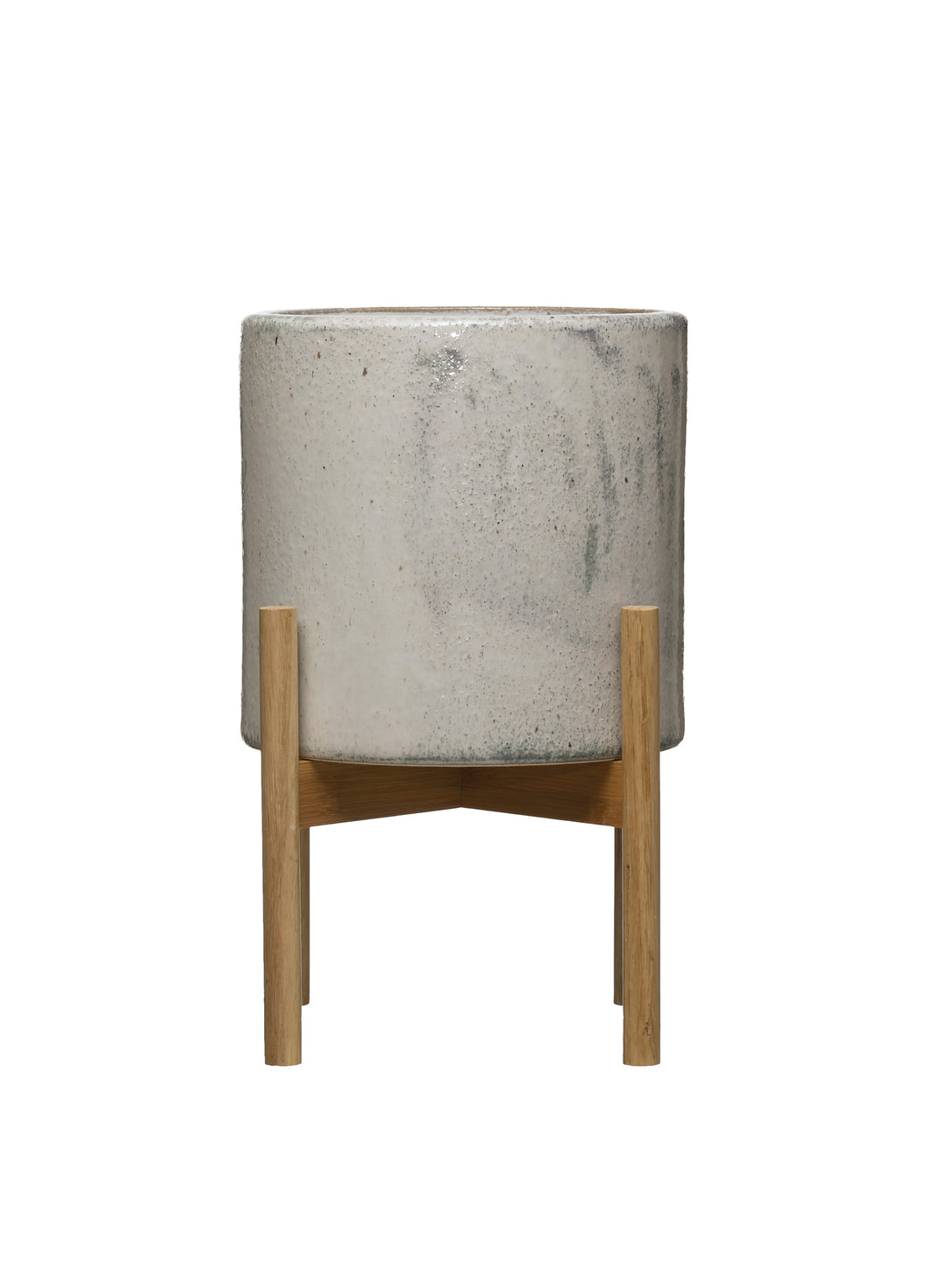 Stoneware Planter on Wood Stand (DS)