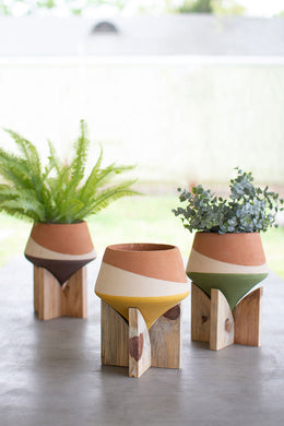 3-Color Clay Pot w/Wood Stand