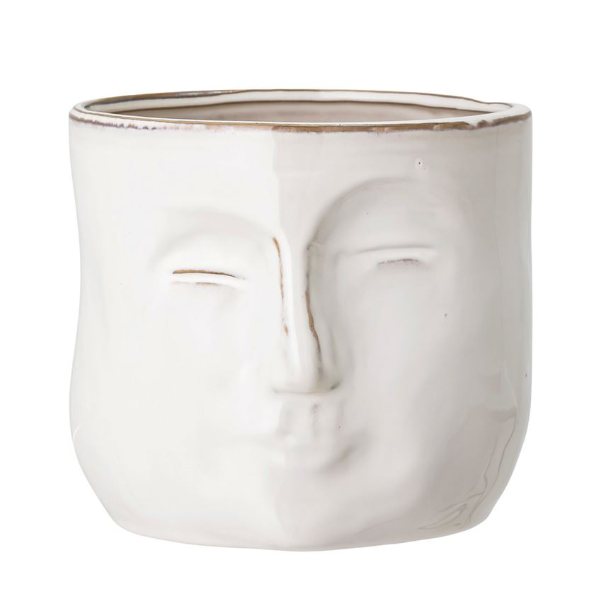 Stoneware Planter with Face