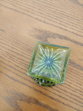 Vintage Small Green Glass Square Base Compote