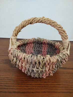 Vintage Multi-Colored Woven Small Basket