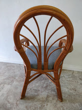 Vintage Bamboo Accent Chair with Blue Seat Cushion