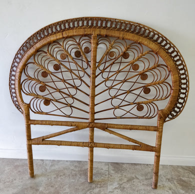 Vintage Full Size Natural Rattan Headboard