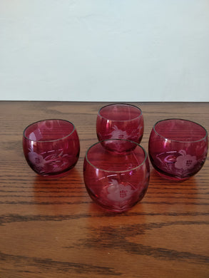 Vintage Dark Pink Etched Small Glass, 4 pc set
