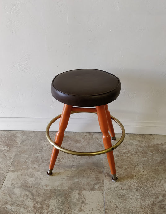 Vintage Orange and Brown Swivel Stool