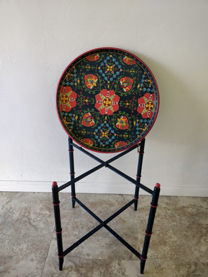 Vintage Hand Painted Tray and Stand Made in India