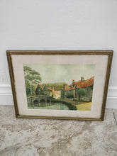 Vintage Watercolor Litho of Homes Wall Art