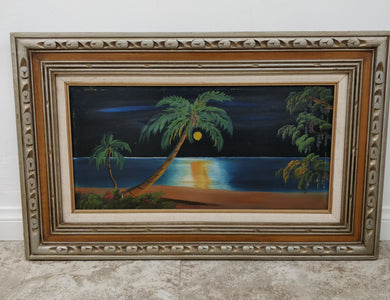 Vintage Framed Mexican Moonlit Beach Scene Wall Art