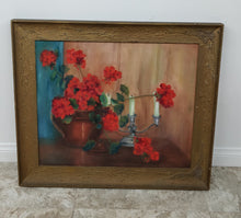 Vintage Framed Red Geranium Arrangement Oil on Canvas