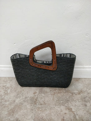 Vintage Black Woven Handbag w/Wooden Handle