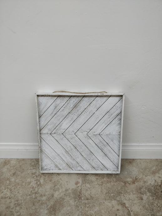 Distressed White Wood Tray