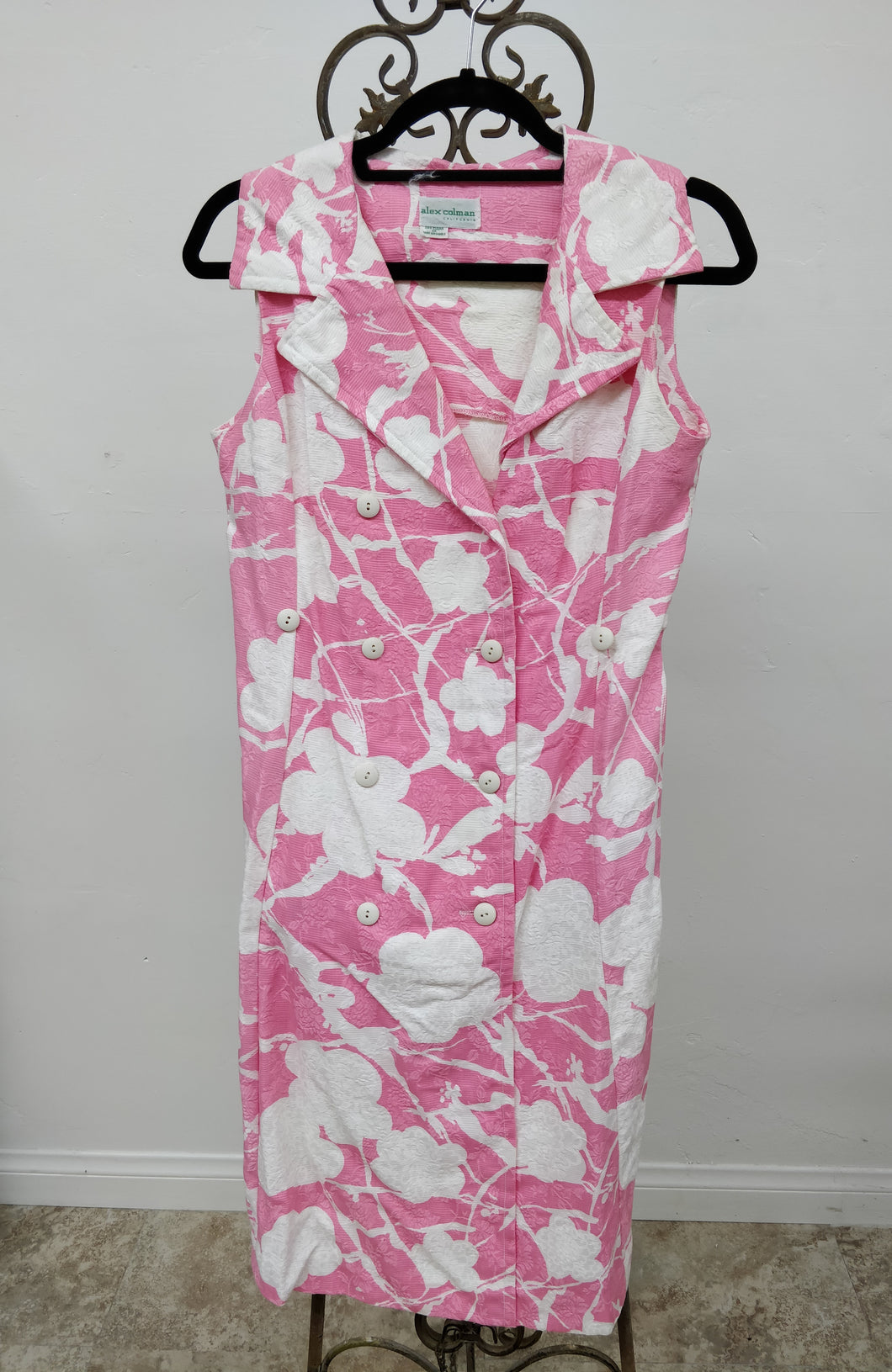 Vintage Sleeveless Pink & White Dress