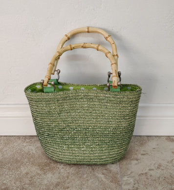 Vintage Green Handbag w/Bamboo Handle
