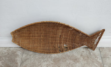 Vintage Fish Shaped Wicker Wall Decor