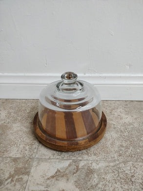 Vintage Mid-Century Modern Goodwood Glass Domed & Teak Serving Dish