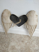 Metal Sculpted Wings with Gold Heart Wall Decor