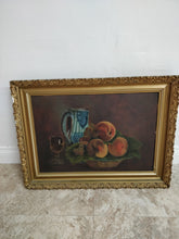 Vintage Framed Bowl of Peaches Still Life