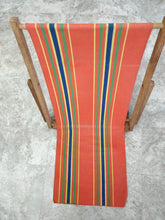 Vintage Wood Framed Canvas Chair