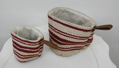 Creative Co-Op Jute Basket with Leather Handle