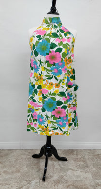 Vintage 1960's Janet Lynn Mod Floral Sleeveless Dress