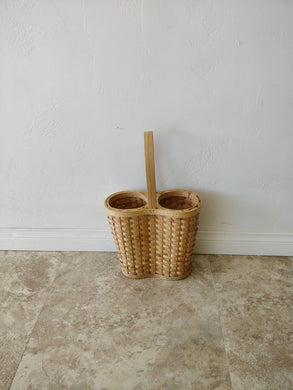 Vintage Woven Double Wine Tote