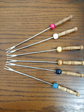 Vintage Wood Handled Fondue Fork Set, 6 pc.