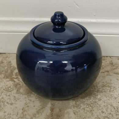 Blue Ceramic Pot w/Lid