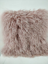 Creative Co-Op Mongolian Sheep Fur Pillow, Pink