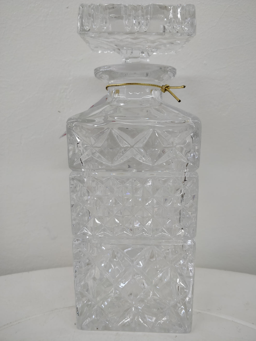 Vintage Square Hand Cut Crystal Decanter