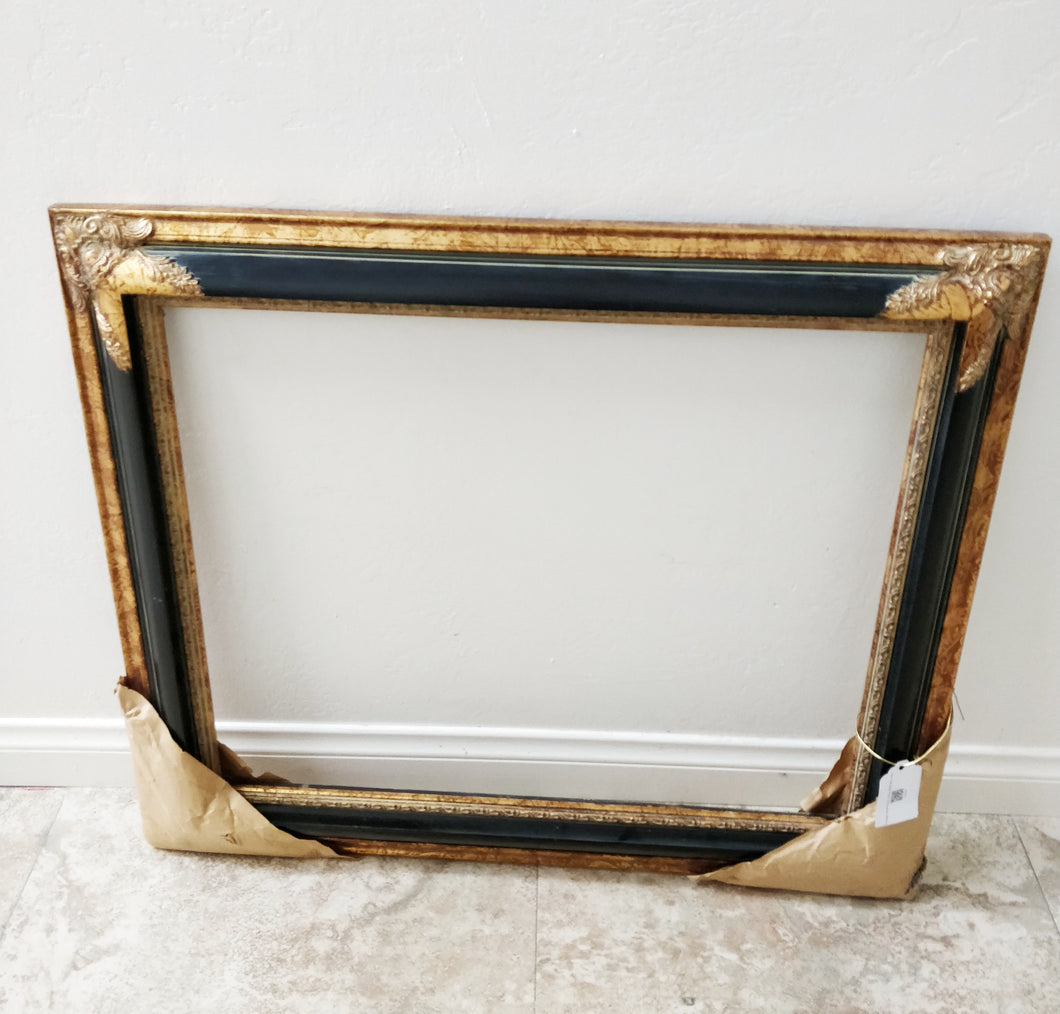 Vintage Large Black and Gold Wood Frame Wall Decor