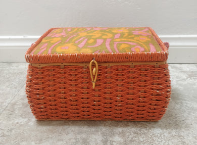Vintage Orange Wicker Sewing Basket