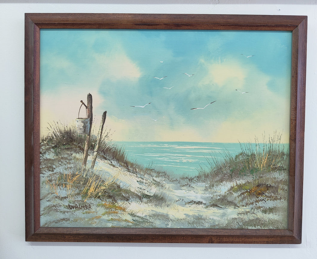Vintage Beach Scene Oil on Canvas