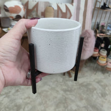 White Flower Pot w/Metal Stand