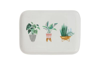 Stoneware Platter w/ Potted Plants
